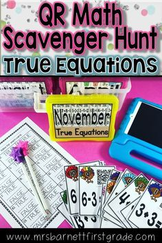 Going on a QR Scavenger Hunt is an awesome way to practice math standards! Practice true equations in November - or any month! Download this resource to send your students on a fun adventure with self checking QR Codes! Hunts are aligned with Common Core