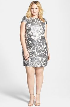 Adrianna Papell Cap Sleeve Sequin Sheath Dress #plussize #holidays #holiday2014