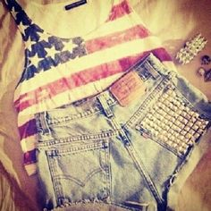 American flag tank + High waited studded shorts=My outfit for this weekend! 4th Of July Outfits, Summer Outfits, Cute Outfits, Summer Clothes, Teen Outfits, Holiday Outfits, Easy Outfits, Summer Ootd, Holiday Clothes