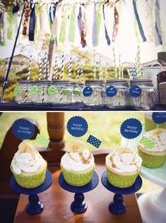 Charming Vintage Storybook Birthday Party: painted mini cupcake stands