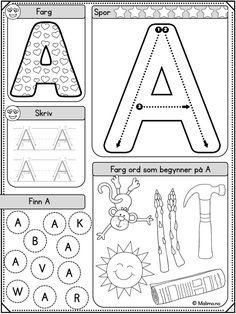 Formålet med BOKSTAVSERIEN er selvfølgelig å lære bokstavene. Ut over det er ønsket at serien skal legge til rette for variert øving med mange ulike oppgavetyper. Variasjonen i oppgaver og i vanskegrad gjør arbeidet lystbetont! Teaching Kids, Kids Learning, Barn Crafts, Art For Kids, Crafts For Kids, Swedish Language, Learning Support, Handwriting Worksheets, Pre Writing