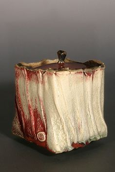 Ceramics by Eddie Curtis at Studiopottery.co.uk - Caddy, Made from impressed and stretched slabs. Eddie Curtis 2007, H 14cm x 12 x 12.