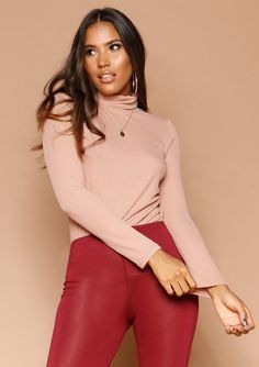 2a5c612a0f942 Missyempire - Isabel Blush Ribbed Roll Neck Jumper Roll Neck Jumpers