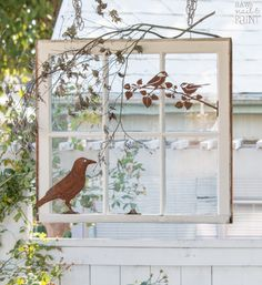 A salvaged window is repurposed into a pretty porch decoration using rusty metal bird silhouettes. This is a simple and fast project with a ton of charm! Diy Shutters, Indoor Shutters, Painting Shutters, Bedroom Shutters, Repurposed Shutters, Repurposed Furniture, Window Frame Decor, Old Window Frames, Window Art