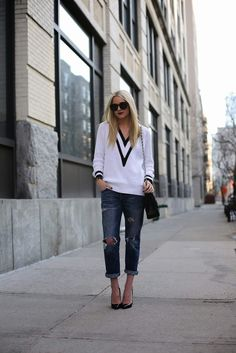tennis inspired sweater with boyfriend jeans