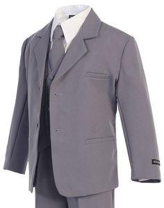 Grey Gray Formal 5 Pieces Boy Kids Dress Suits Tuxedo with Free Bow Tie Kids Dress Suits, Kids Suits, Khaki Vest, Toddler Suits, Baby Boy Suit, Western Suits, Vest And Tie, Stylish Suit, Formal Suits
