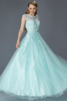 Prima Bella Exclusive Collection. Tiffany colored ballgown with a full skirt of…