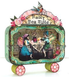 *Fairy Tea Time* Whimsical art in a tin shadowbox - vintage paper collage. Original art by delia. Altered Tins, Altered Art, Shadow Box, Paper Art, Paper Crafts, Tin Art, Assemblage Art, Tin Boxes, Little Boxes