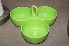 Vintage bright green Melamine Melmac triple Serving Bowl Chip Dip Condiments