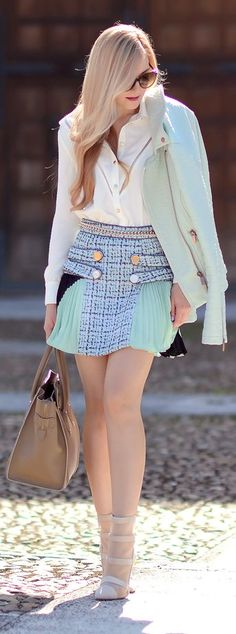 Mint And Blue Kilt Inspired Contrast Fabrics Mini Skirt by Oh My Vogue