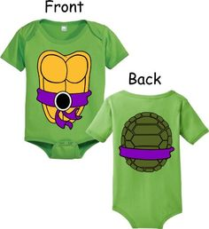 Teenage Mutant Ninja Turtles Green Donatello Costume Infant Baby Onesie Romper (Purple Belt) (12 Months) Teenage Mutant Ninja Turtles