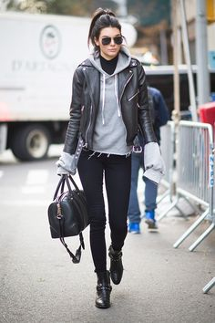 Kendall Jenner Made a Hooded Sweatshirt Totally Chic via @WhoWhatWear