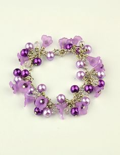 acrylic flower and glass pearl bracelets