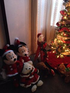 Mickey and Minnie enjoying the tree
