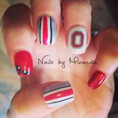 Ohio state nail art. Buckeye theme nails. Acrylics with shellac polish. By Miranda Laubensheimer in canal Winchester Ohio. IG Lil_Mira12