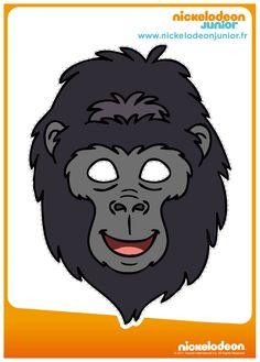 Free Printable Halloween Masks–Fun masks for kids including Disney characters, pirates, animals, sup Printable Halloween Masks, Printable Masks, Halloween Poster, Halloween Kids, Printables, Free Printable, Gorilla Craft, Gorilla Costumes, Safari Party