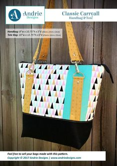 5e8ac79ade86 Classic Carryall Handbag pattern by Andrie Designs Tote Pattern
