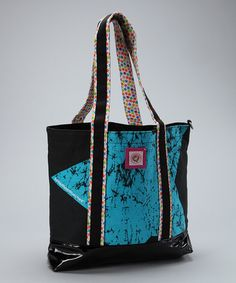 Take a look at this Black & Turquoise Star Tote Bag by LittleMissMatched on #zulily today!