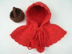 0028ebfdfb3 Crochet Little Red Riding Hood and Basket Halloween  Little Red Riding Hood  Cape Halloween Costume F
