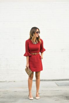 @roressclothes closet ideas #women fashion outfit #clothing style apparel red Bell Sleeve Dress