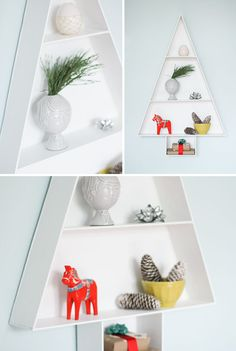 Kerst DIY: moderne kerstboom-plank voor aan de wand - Roomed