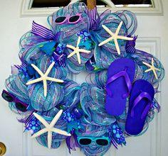 Flip flop deco mesh beach wreath spring wreath summer by MeMaandCo