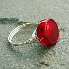 Ruby Red Venetian Sterling Silver Ring by blackdogwhitedog on etsy (it has been sold, but they have other cool stuff)
