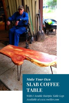 I-Semble Hairpin Table Legs Hairpin Table, Hairpin Legs, Slab Table, Table Legs, Cool Woodworking Projects, Diy Woodworking, Wood Mill, Wood Slab, Mid Century Modern Furniture