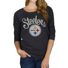 Junk Food Pittsburgh Steelers Ladies Field Goal Fleece Sweatshirt - Black
