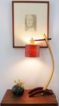 """Local artisan Tyler Beaudoin made this gorgeous and unique wooden table lamp, complete with wood veneer shade. The piece is truly one of a kind! 11""""W x 6""""D x 27.5""""H $585.00"""