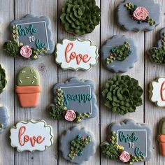 "681 Likes, 22 Comments - LottaTreats Cookie Company (@lottatreats) on Instagram: ""Pretty succulents to celebrate a beautiful bride to be #lottatreats #cookies #sugarcookies…"""