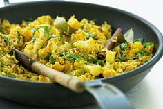 Spicy Cauliflower Pilau - This healthy, Indian-inspired side dish is made from cauliflower florets instead of rice - a quick and gluten-free addition to curry night.