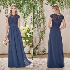 7a4443bcdf6 2015 Navy Blue Bateau Sheer Lace Long Cheap Bridesmaid Dresses Cap Sleeves  Floor Length Evening Dress Prom Gowns Wedding Party Dress