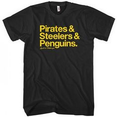 """Represent your love of Pittsburgh with our classic and-style print, featuring an additional """"Loyal to Pittsburgh"""" script below the main artwork. It's available here in your choice of several colors, printed with eco-friendly inks. Available in short and long-sleeve versions for men, women & kids. #pirates #steelers #penguins"""