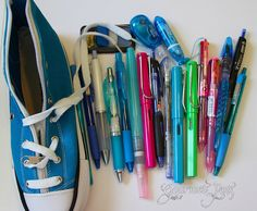 Converse Shoe Pencil Pouch with Pens by GourmetPens, via Flickr