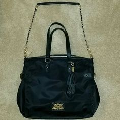 Juicy Couture Tote Juicy nylon handbag.  Comes with detachable crossbody strap and gold hardware. Adorable details, spacious and beautiful cobalt blue interior! Hardly used, excellent condition! Juicy Couture Bags Crossbody Bags