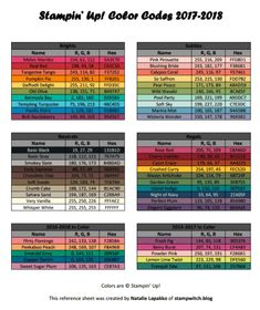 Stampin Up Color Charts Rgb Values Stampin Up Updated With