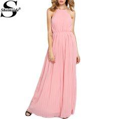 Sheinside интернет магазин одежды 2016 платья для дамы рукавов повод плиссированные макси шифон ну вечеринку платье купить на AliExpress