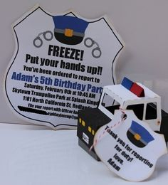 Police Party Invite and Goody Box using Silhouette Cameo by Kutz, Paper, Scissors