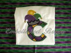 19d7eddaaab Mardi Gras Jester Hat Initial Appliqued T-shirt for Boys or Girls