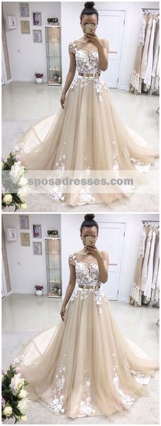 Short Sleeve Illusion Lace A-line Cheap Wedding Dresses Online, WD34