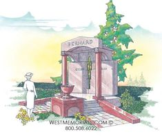 Discover our beautiful bird granite mausoleum design featuring a gorgeous floral arrangement and a bronze decorative door. 2017 Design, Design Development, Beautiful Birds, Granite, Floral Arrangements, Hand Carved, Carving, Cold, Memories