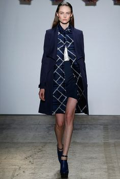 ADEAM | Spring 2015 Ready-to-Wear | 16 Navy coat, printed shirt-dress, white top and navy mini skirt