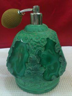 Old Bohemian Malachite Art Deco Czech Perfume Bottle Large | eBay