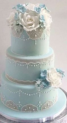 Light Blue Cake With Roses and Small Pearls