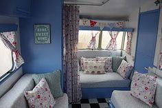 vintage camper. Love the cute interior