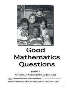 Here's a nice collection of questions for a range of math topics in grades K-5. Teaching Math, Maths, Number Talks, Math Talk, Math Assessment, Math Workshop, Guided Math, Sixth Grade, Elementary Math