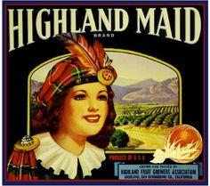 Highland Maid Scottish Orange Citrus Crate Label Art Print