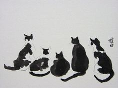 Art 'Black and White Cat Watch' - by Tracey Allyn Greene from chinese brush paintings
