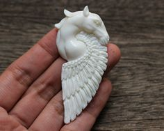 Pegasus - Horse, Feathers, Wing, Fly, Flight Charm, Hand Carved Bone Heavenly, Divine, Goddess, Jewelry Setting Piece, Handmade B238